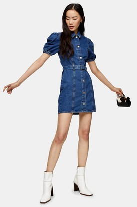 Topshop Womens Considered Puff Sleeve Belted Denim Dress - Mid Stone