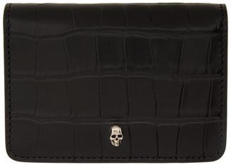 Alexander McQueen Black Croc Business Card Bifold Wallet