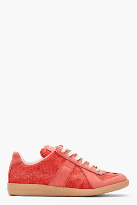 Maison Martin Margiela Brick red nubuck and textile Sneakers