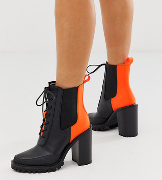 Asos Design DESIGN Wide Fit Ellen chunky lace up boots in neon-Multi