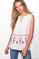 boohoo NEW Womens Maria Embroidered Woven Tunic Top in Red size 8