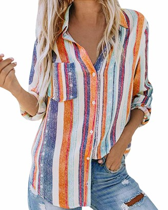 Eledobby Casual Women's Striped Blouse Button Down Ladies Shirts Long Sleeve Lounge Wear Sexy V Neck Tunic Tops Summer Fall Clothes White and Orange XL