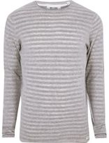 River Island MensGrey marl Only & Sons ribbed knit T-shirt