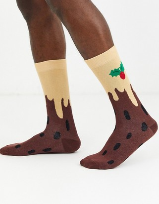 Asos Design DESIGN ankle sock with christmas pudding print-Multi