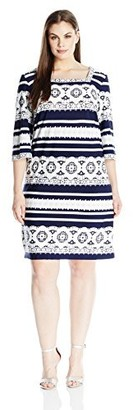 Sandra Darren Women's 1 Pc Plus Size 3/4 Sleeve All Over Textured Jersey Shift Dress