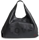 Peace Love World Slouchy Faux Leather Hobo - Black