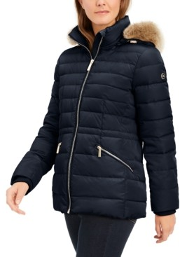 Michael Kors Michael Faux-Fur-Trim Hooded Down Puffer Coat