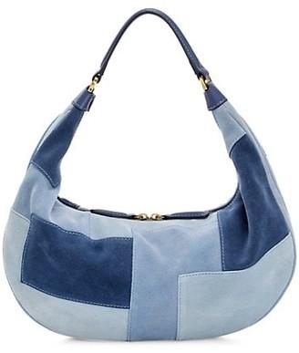 STAUD Sasha Patchwork Suede Shoulder Bag