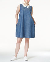 Monteau Trendy Plus Size Collared Chambray Shift Dress