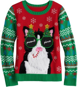 It's Our Time Girls 7-16 Christmas Cat Sweater