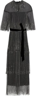 Monique Lhuillier Embellished Tiered Tulle Gown