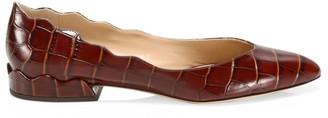 Chloé Laurena Croc-Embossed Leather Ballet Flats