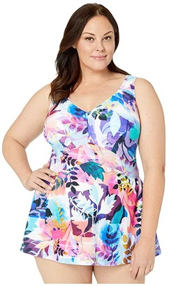 Maxine Of Hollywood Swimwear Plus Size Garden Party Empire Swimdress One-Piece (Multi) Women's Swimsuits One Piece