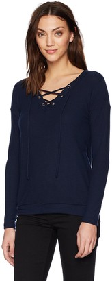Michael Stars Women's Madison Brushed Jersey Long Sleeve v Neck lace up top