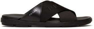Prada Black Logo Tape Sandals