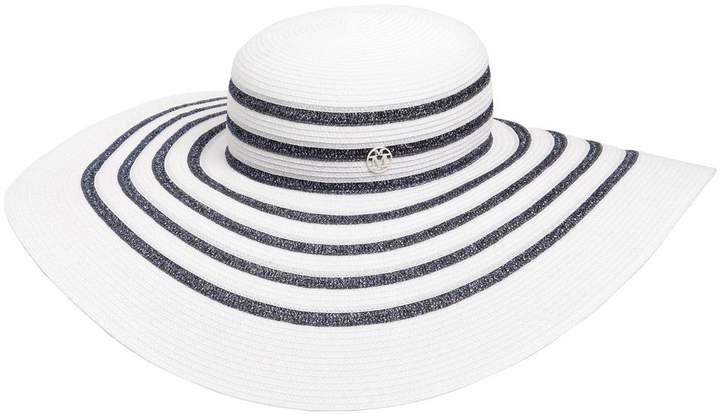 Maison Michel Bianca Striped Shiny Straw Hat