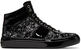 Jimmy Choo Black & Silver Velvet Belgravia High-Top Sneakers