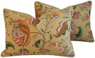One Kings Lane Vintage Brunschwig & Fils Floral Pillows - Set of 2 - tan/mocha/gold/green/rose/blue/multi