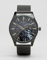 Reclaimed Vintage Marble Mesh Watch In Black