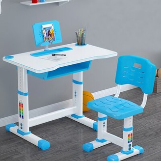 Children Study 22.4'' Writing Desk with Height Adjustable and Chair Set TREE TEAMER
