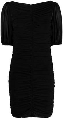 Ganni Point D'esprit Ruched Mini-Dress