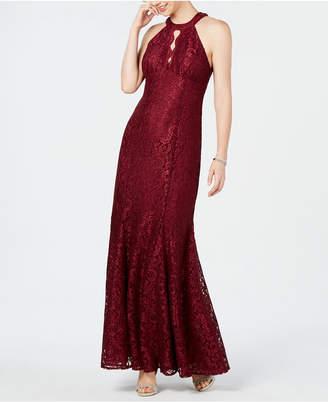 R & M Richards Nightway Lace Keyhole-Cutout Gown, Regular & Petite Sizes