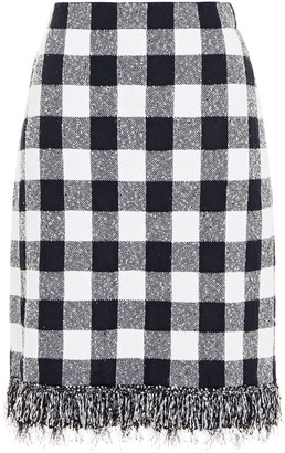 Oscar de la Renta Frayed Gingham Boucle-knit Skirt
