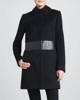 T Tahari Devon Faux-Leather-Waist Coat