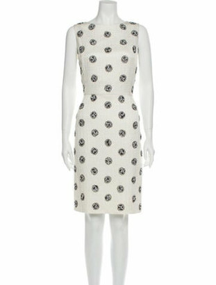 Oscar de la Renta Printed Knee-Length Dress White