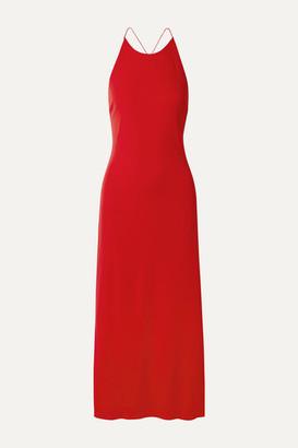 Rosetta Getty Open-back Stretch-jersey Midi Dress - Red