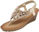 ASVOGUE Summer Women's Boho Rhinestone Slip On Thong Wedge Sandals