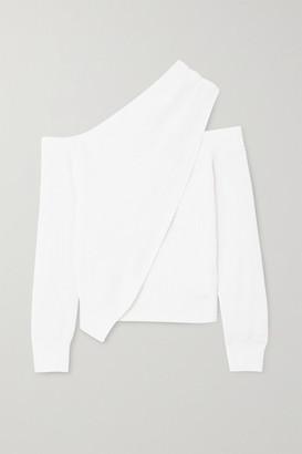 RtA Juliet One-shoulder Draped Cotton Sweater - White
