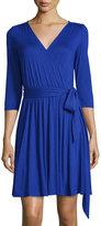 Three Dots 3/4-Sleeve Jersey Wrap Dress, Blue Rebel