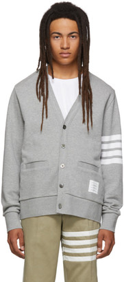 Thom Browne Grey 4-Bar V-Neck Cardigan