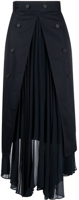 Rokh Pleat Split Maxi Skirt