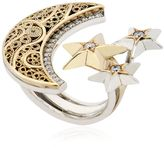 Azza Fahmy Crescent Moon & Stars Ring