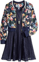 Beautees 3-Pc. Bomber Jacket, Dress & Necklace Set, Big Girls (7-16)