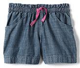 Classic Girls Plus Chambray Shorts-Light Indigo Blue