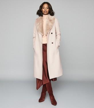 Reiss Dawson - Faux Fur Shawl Collar Coat in Truffle