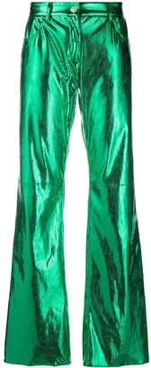 MSGM Metallic Flared Trousers
