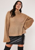 Missguided Plus Size Stone Funnel Neck Sweater