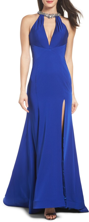 Mac Duggal Jewel Neck Mermaid Dress