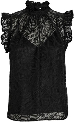 Frame Ruffled Sleeveless Lace Top