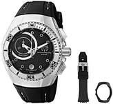 Technomarine unisex Quartz Watch with Black Dial Chronograph Display and Black Silicone Strap 114029