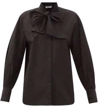 Another Tomorrow - Oversized Tie-neck Cotton-poplin Shirt - Black