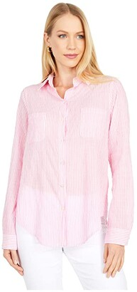 Lilly Pulitzer Sea View Button-Down (Prosecco Pink Lightweight Oxford Stripe) Women's Clothing