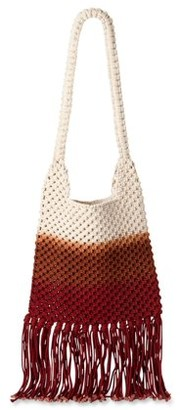 Time and Tru Crochet Tote with Fringe Detailing