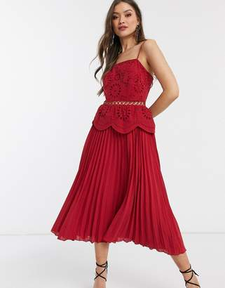 Asos Design DESIGN embroidered cami midi dress with pleated skirt
