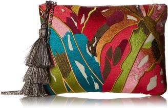 Steve Madden Malibu Embroidered Multi Colored Bohemian Geometric Fabric Pouch Crossbody