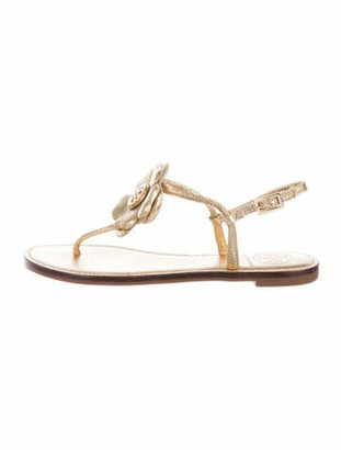Tory Burch Shelby Flat Thong Signature Logo T-Strap Sandals Gold